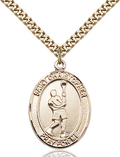 Image of St. Christopher/Lacrosse Pendant (Gold Filled)