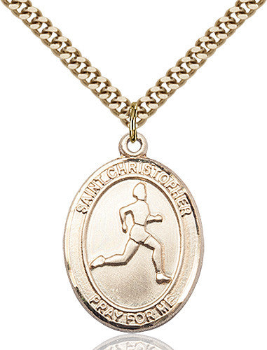 Image of St. Christopher/Track & Field Pendant (Gold Filled)