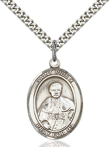 Image of St. Pius X Pendant (Sterling Silver)