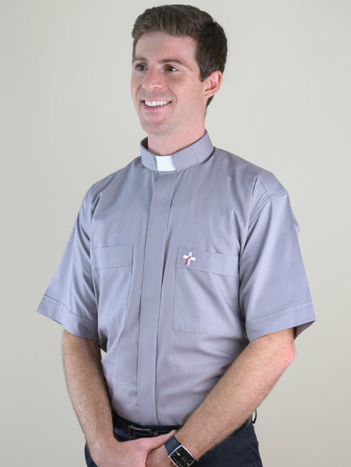 Deacon's Cross Clergy Shirt / Short Sleeve Grey Tab - 70/30