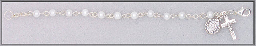 "Image of WHITE GLASS PEARL BEAD 5.5""BRAC"