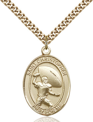 Image of St. Christpher / Football Pendant (Gold Filled)
