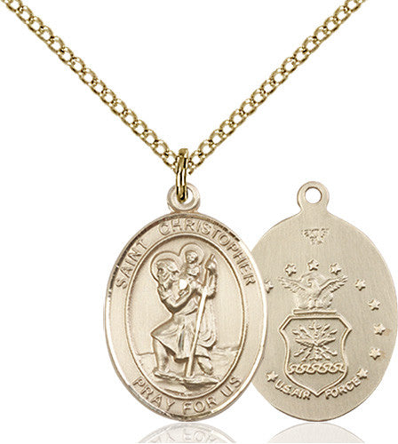 Image of St. Christopher / Air Force Pendant (Gold Filled)