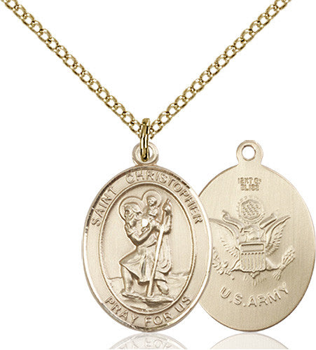 Image of St. Christopher / Army Pendant (Gold Filled)