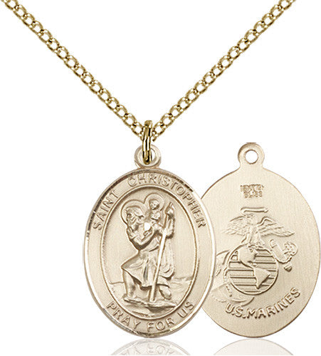 Image of St. Christopher / Marines Pendant (Gold Filled)