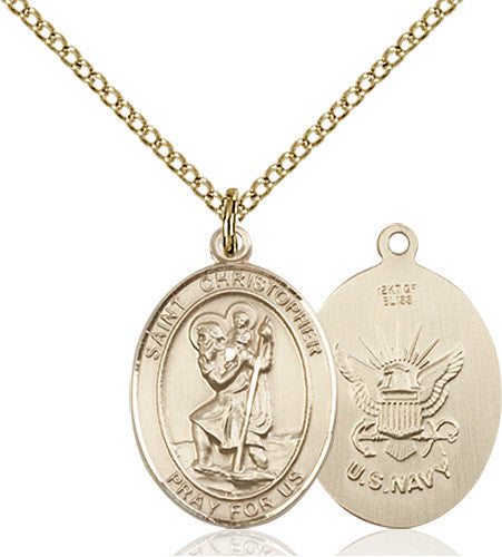 Image of St. Christopher / Navy Pendant (Gold Filled)