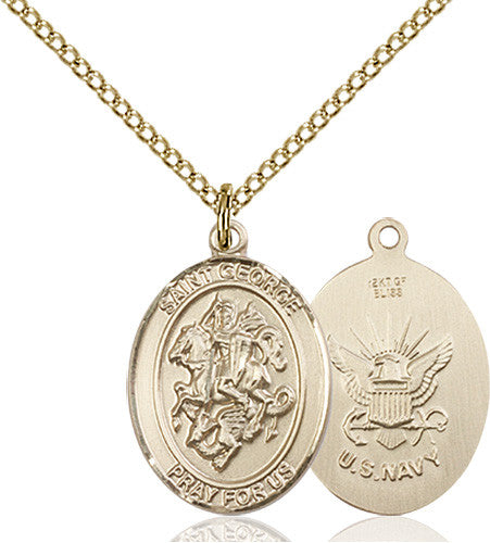 Image of St. George / Navy Pendant (Gold Filled)