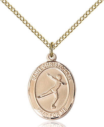 Image of St. Christopher/Figure Skating Pendant (Gold Filled)