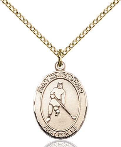 Image of St. Christopher/Ice Hockey Pendant (Gold Filled)