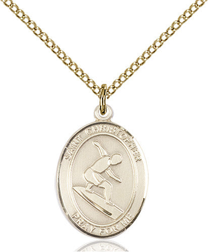 Image of St. Christopher/Surfing Pendant (Gold Filled)