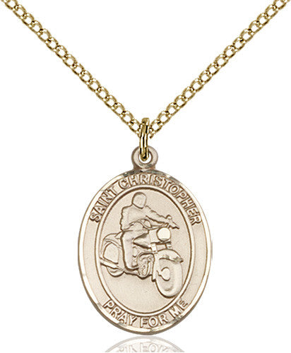 Image of St. Christopher/Motorcycle Pendant (Gold Filled)