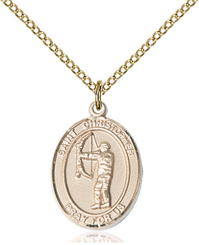Image of St. Christopher/Archery Pendant (Gold Filled)