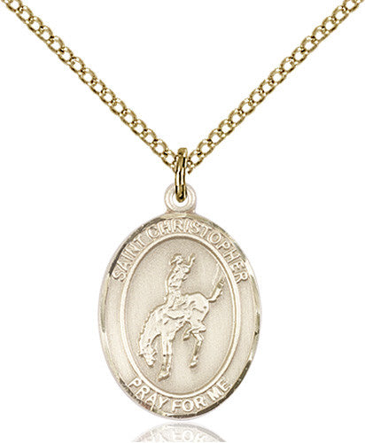 Image of St. Christopher / Rodeo Pendant (Gold Filled)