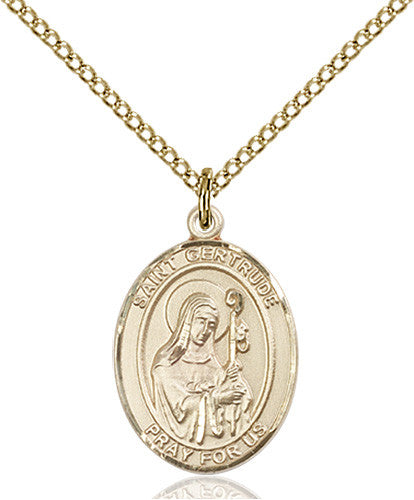 Image of St. Gertrude of Nivelles Pendant (Gold Filled)