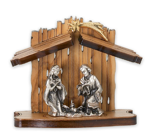 Laser Cut Olive Wood Standing Nativity