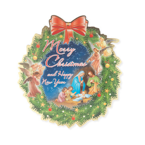 CHRISTMAS & NEW YEAR WREATH SHAPED PLAQUE