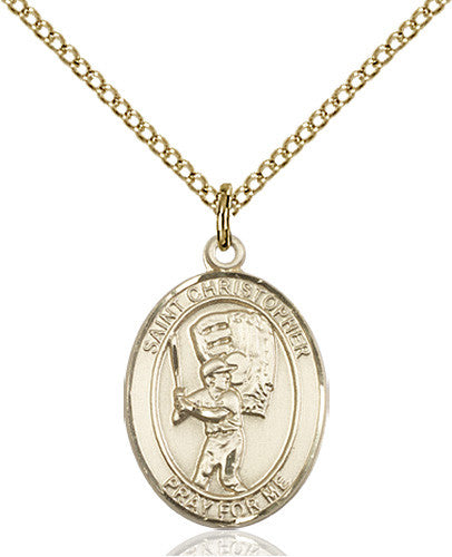 Image of St. Christopher/Baseball Pendant (Gold Filled)