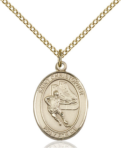 Image of St. Christopher/Hockey Pendant (Gold Filled)