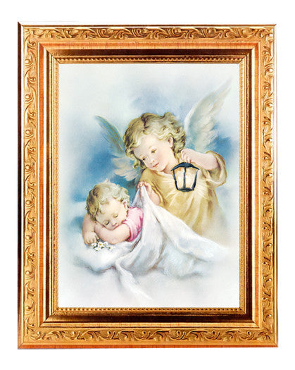 guardian_angels_with_lantern_gold_frame