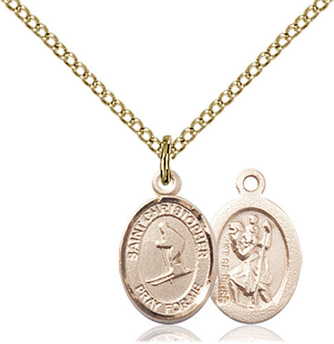 Image of St. Christopher / Skiing Pendant (Gold Filled)