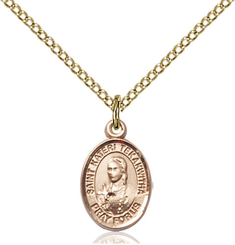 Image of St. Kateri Tekakwitha Pendant (Gold Filled)