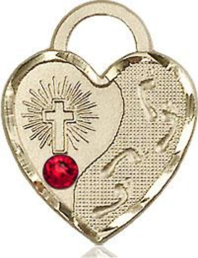 Ruby Bead Footprints Heart Pendant (14 Karat Gold Filled)