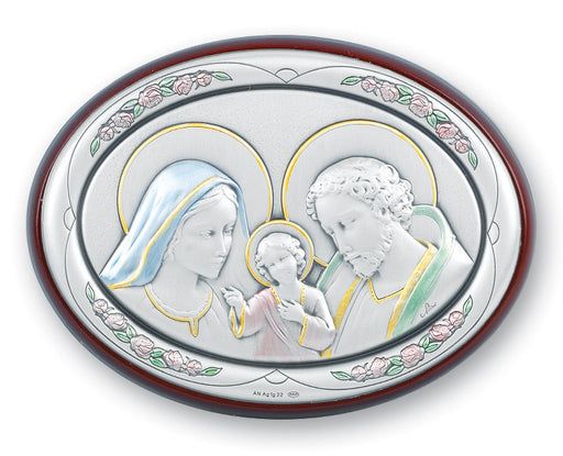 Holy Family Sterling Silver Oval Plaque