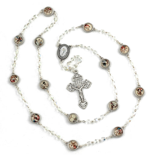 Stations Of The Cross Rosary with Crystal Beads & Color Station Medals