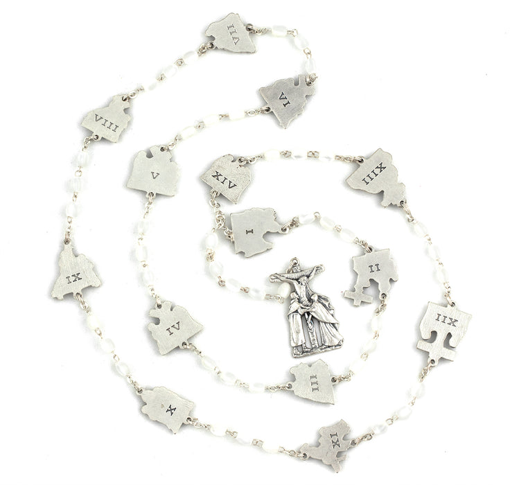 Stations of the Cross Rosary -Faux Mother of Pearl Beads