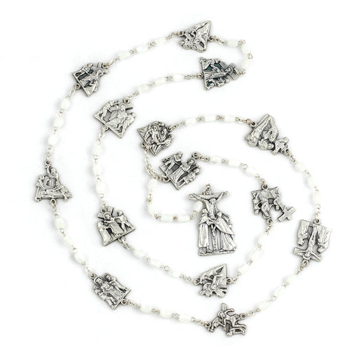Stations of the Cross Faux Mother of Pearl Oval Rosary