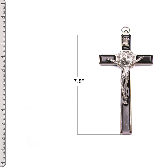 "Front of St. Benedict Crucifix - 7.5"" Black Enamel with Ruler"