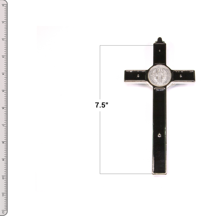 "Back of St. Benedict Crucifix - 7.5"" Black Enamel with Ruler"