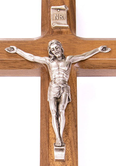 "Close up of Crucifix on 7"" Walnut Cross Antique Silver Plated Corpus"