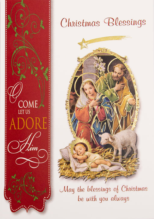 Christmas Nativity with Lamb Christmas Card (10 pack)