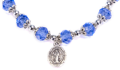 Our Lady of Grace Blue Crystal Rosary Bracelet