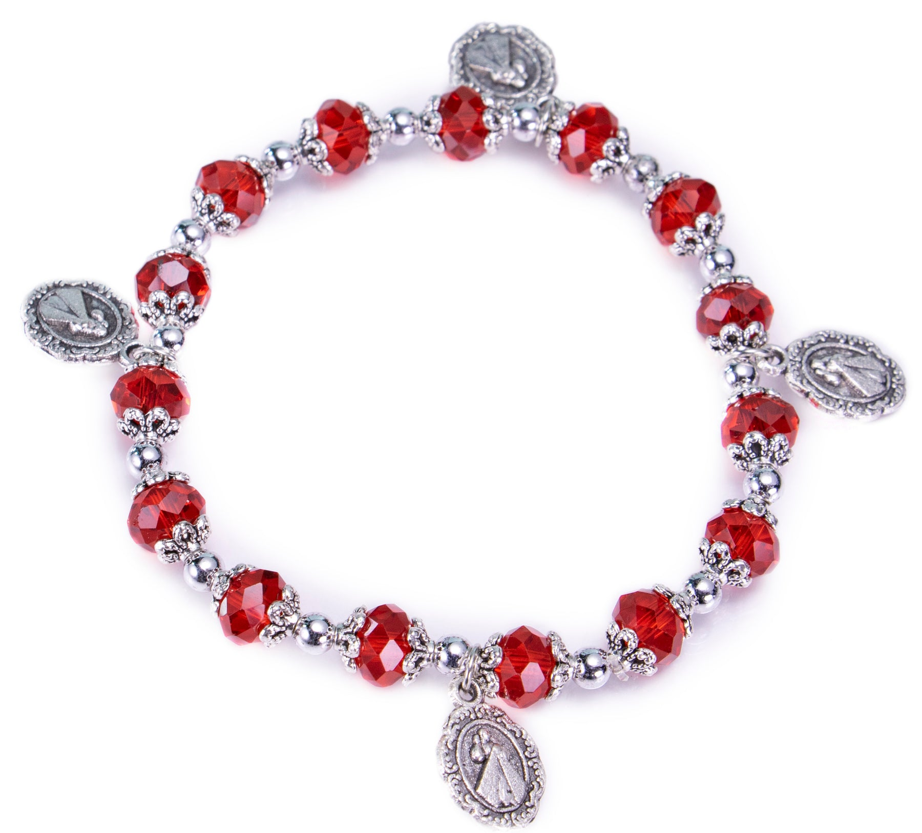 Divine Mercy Rosary Bracelet Ruby Red Crystal