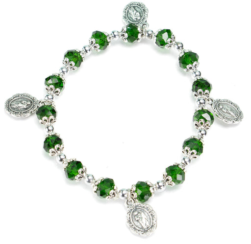 St. Jude and Our Lady of Guadalupe Rosary Bracelet Emerald Green