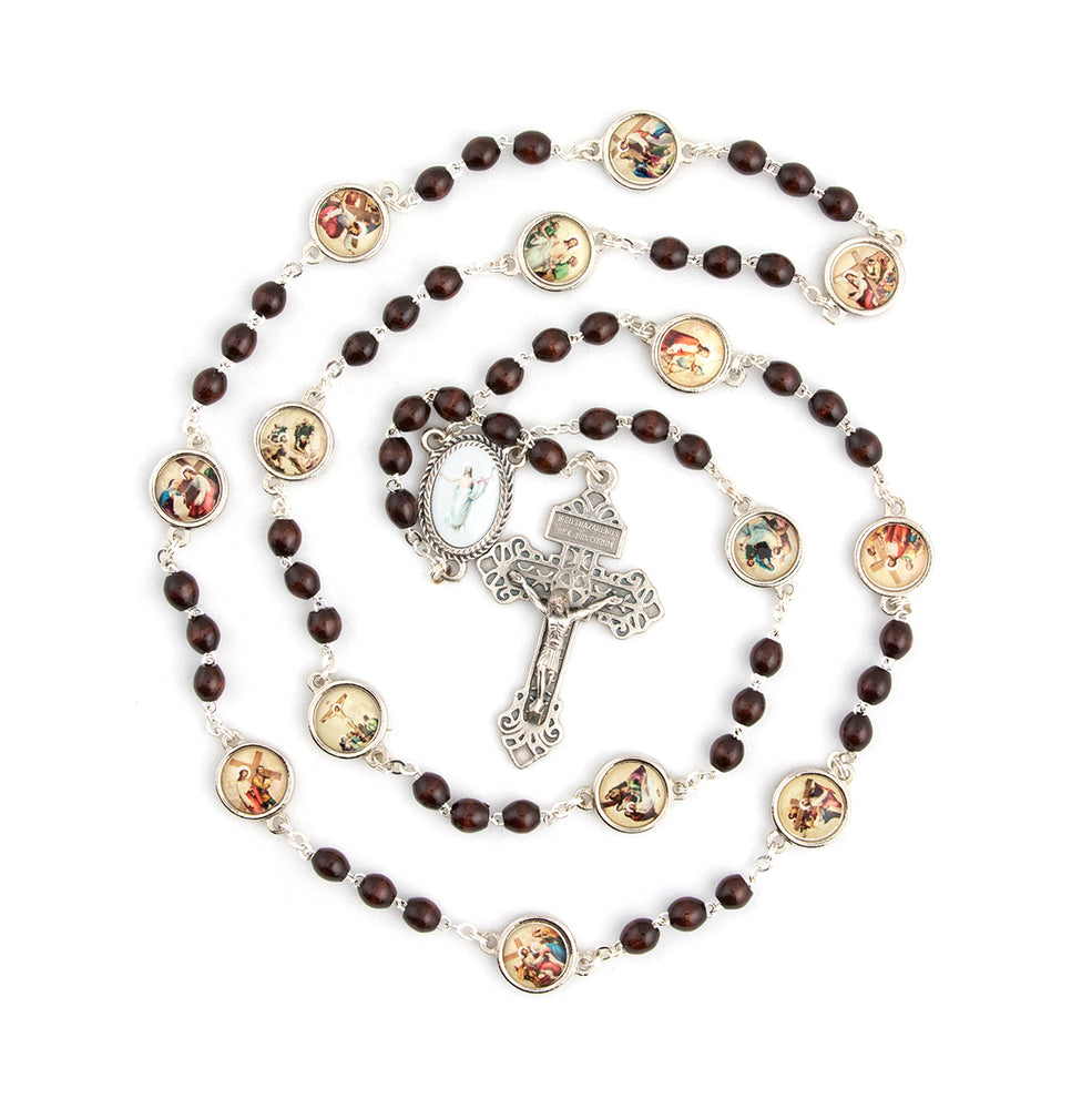 Stations Of The Cross Brown Wood Bead Specialty Rosary