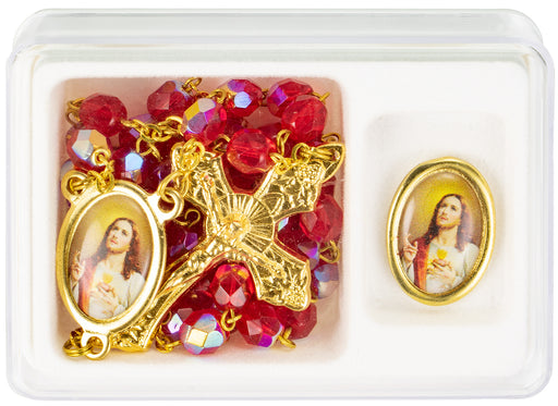 Sacred Heart of Jesus Red and Gold Rosary with Lapel Pin
