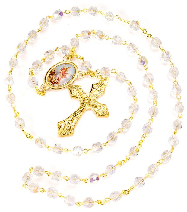 St. Michael Crystal Gold Rosary with Lapel Pin