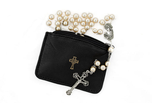 Black Sheepskin Rosary Case with Rosary