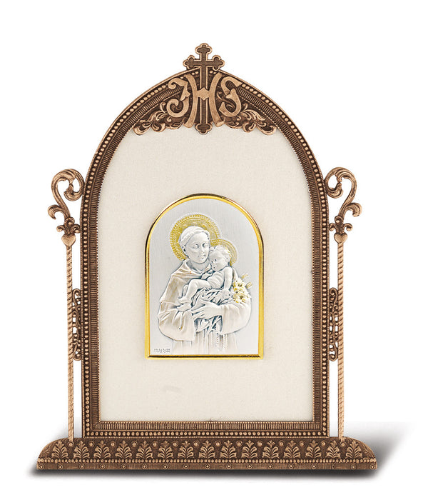 Saint Anthony - Antique Bronze Gold Plated Metal Frame
