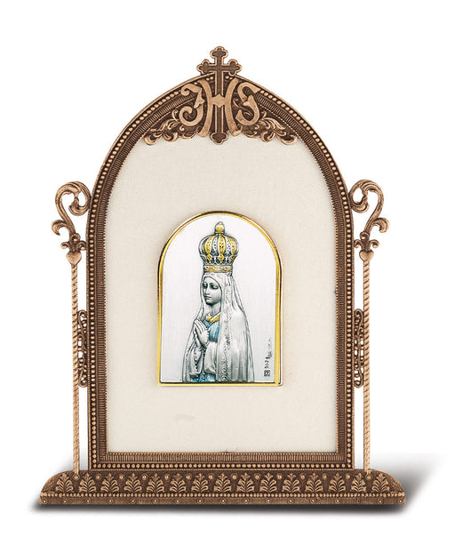 Our Lady of Fatima - Antique Bronze Gold Plated Metal Frame