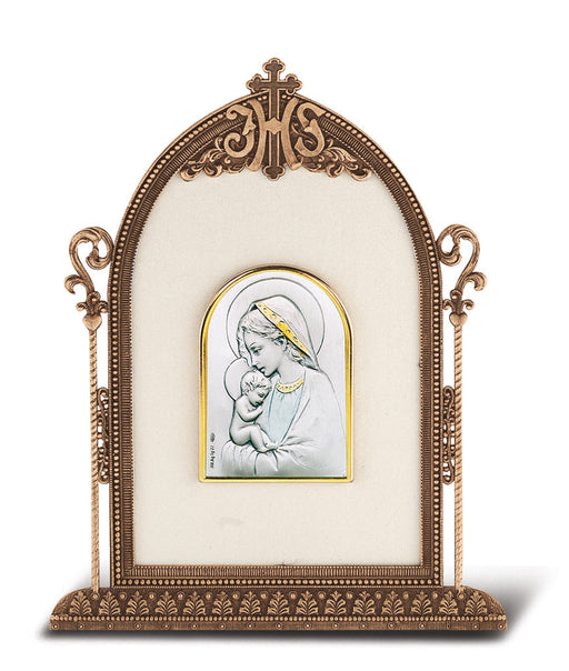 Blessed Mother and Child - Antique Bronze Gold Plated Metal Frame
