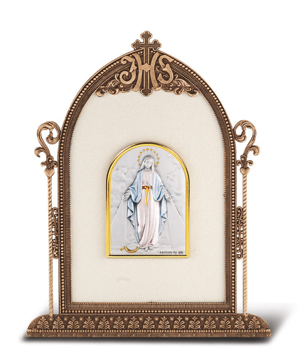 Our Lady of the Miraculous Medal  - Antique Bronze Gold Plated Metal Frame