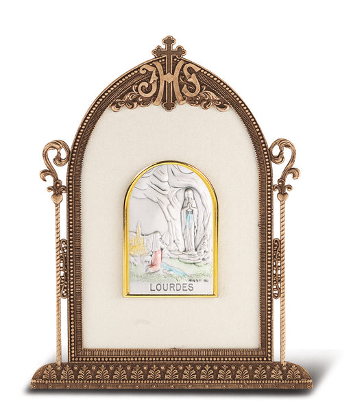 Our Lady of Lourdes - Antique Bronze Gold Plated Metal Frame