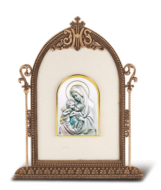 Madonna and Child with Angel - Antique Bronze Gold Plated Metal Frame