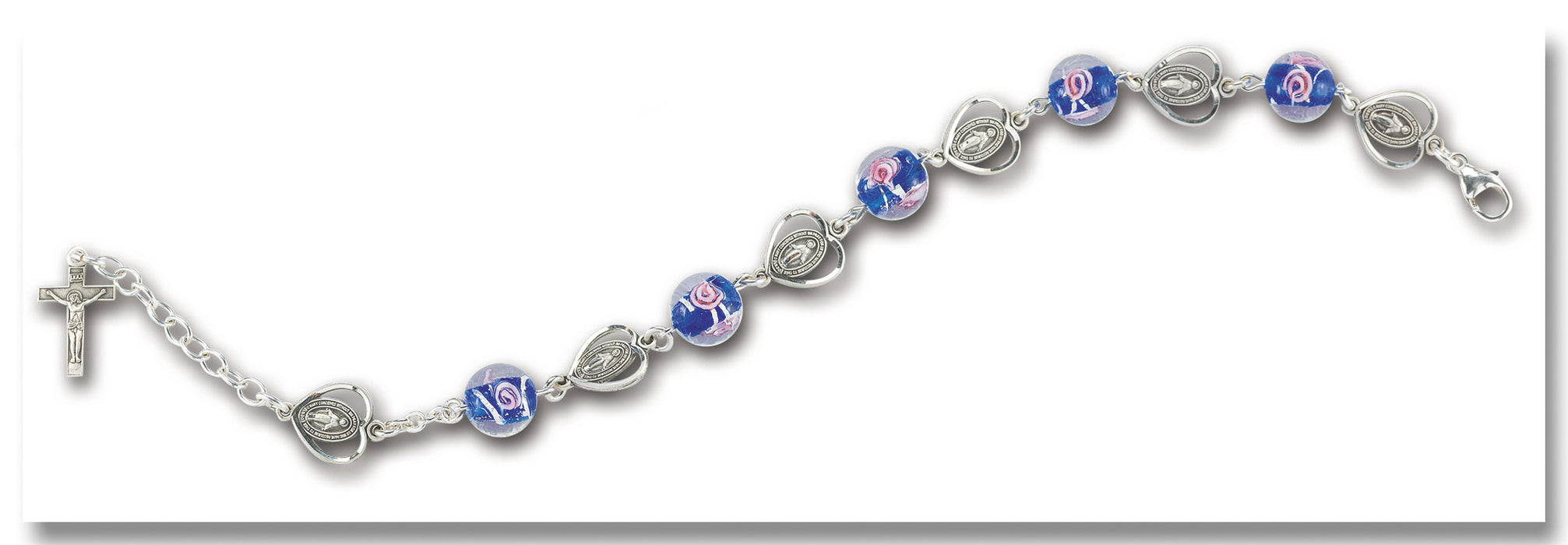 10mm Blue Venetian Bead & Miraculous Heart Bracelet