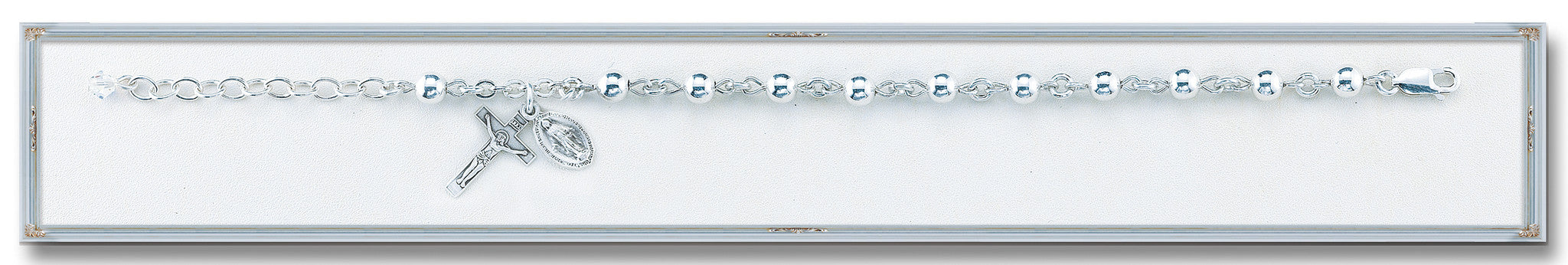 5mm High Polished Round Sterling Silver Bracelet