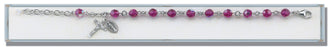 6mm Fusia Round Faceted Swarovski Crystal Sterling Bracelet